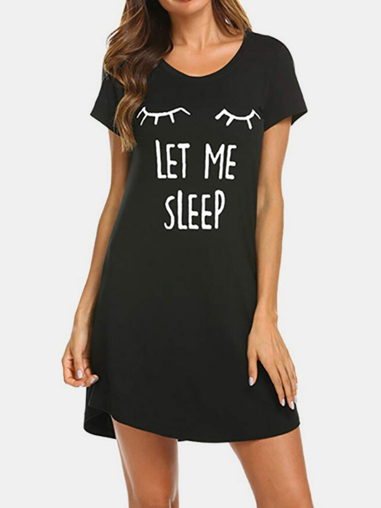 Plus Size Women Pajamas Cute Animal Print Letters Cotton Softies Nightdress For Summer