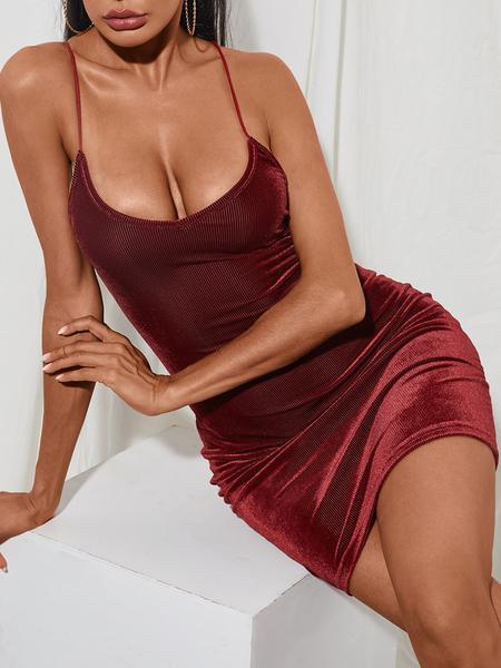 YOINS Burgundy Backless Criss-cross V-neck Sleeveless Dress