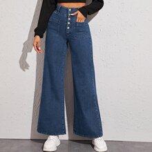 Marineblau  Knopfe  Einfarbig Laessig Jeans