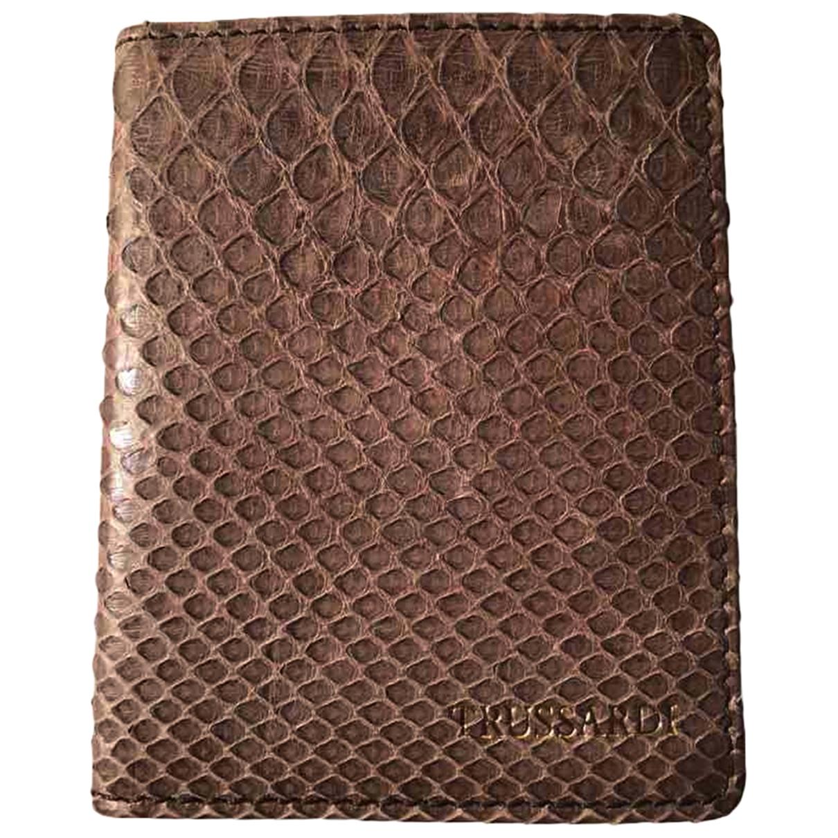 Trussardi \N Brown Python Small bag, wallet & cases for Men \N
