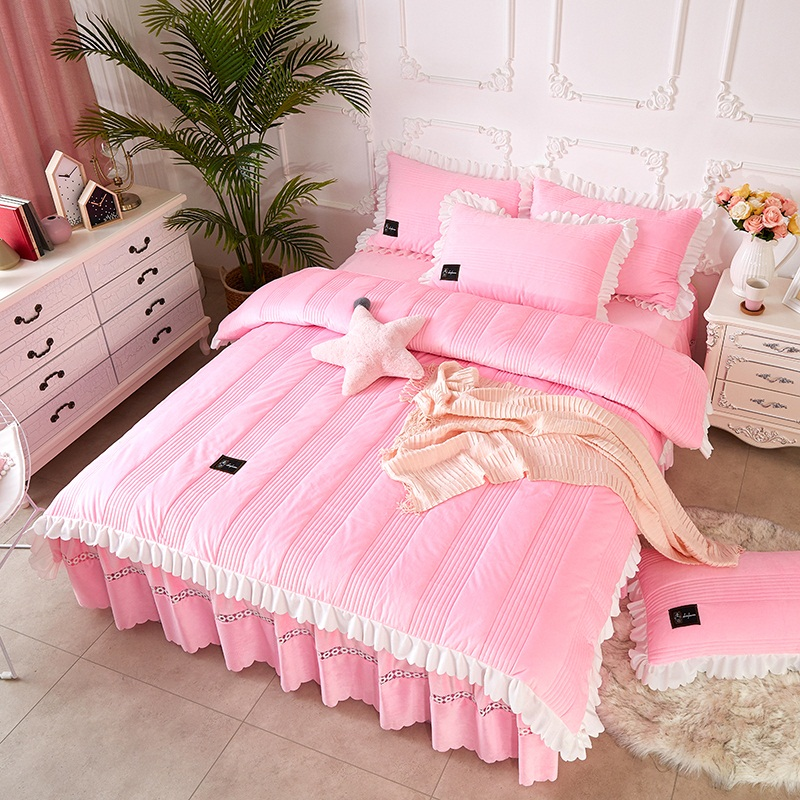 Princess Style Pink Stripes Lace Crystal Velvet Polyester Bed Skirt