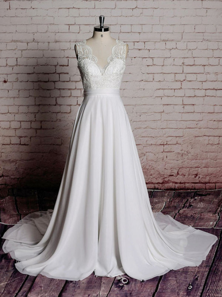 Milanoo Simple Wedding Dress A Line Lace V Neck Sleeveless Bows Bridal Dresses With Chapel Train