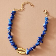 1pc Shell Decor Stone Beaded Anklet