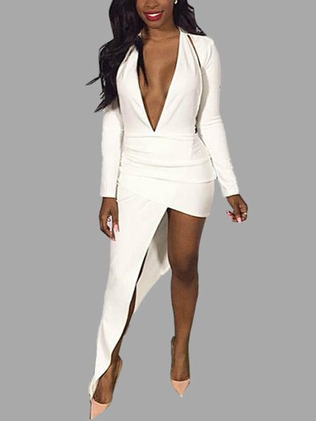 Yoins White Plunging  V-neck Dress With Irregular Hem