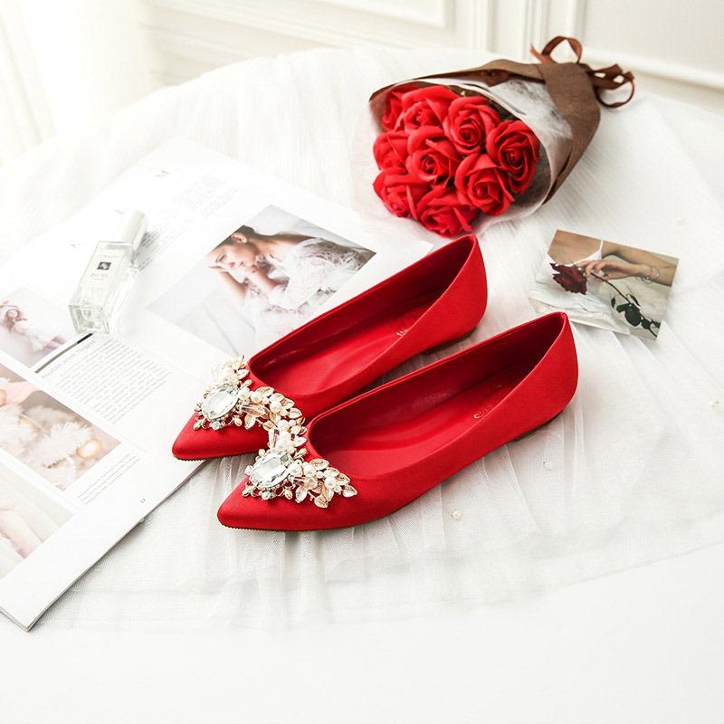 Ericdress Block Heel Rhinestone Pointed Toe Wedding Shoes