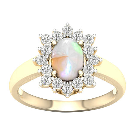 Womens Lab Created Opal 10K Gold Over Silver Halo Cocktail Ring, 8 1/2 , No Color Family