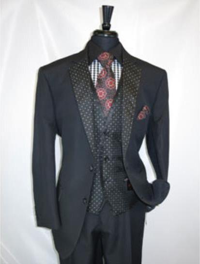 Men's Black 2 Button Notch Lapel Vested Suit Jacket