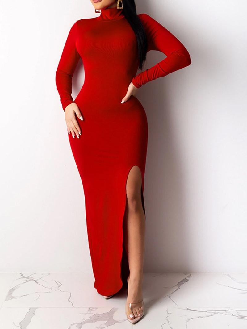 Ericdress Split Long Sleeve Turtleneck Plain Women's Dress