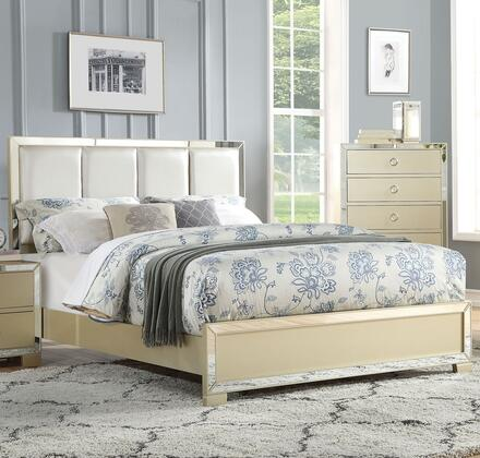 Voeville II Collection 27127EK King Size Bed with PU Leather Upholstered High Headboard  Low Profile Footboard  Mirror Trim Inlay  Medium-Density