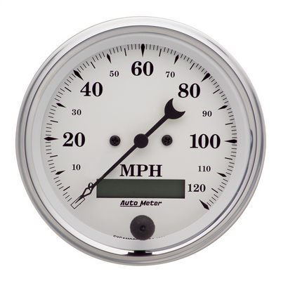 Auto Meter Old Tyme White Electric Programmable Speedometer, 3 3/8 Inch - AMG1680