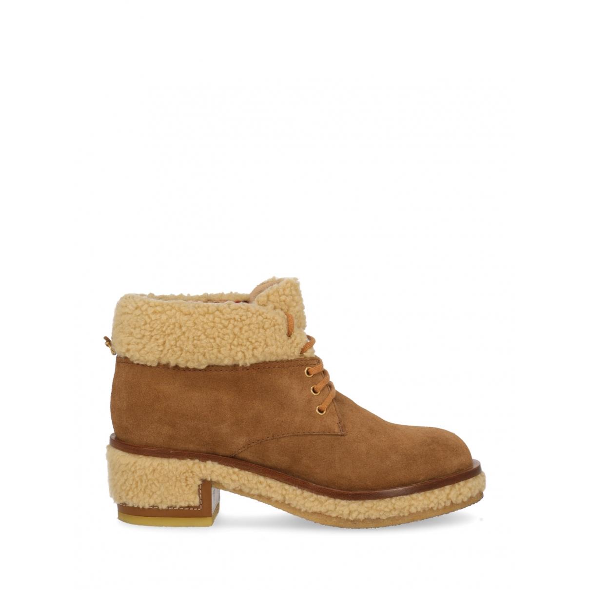 Chanel - Boots   pour femme en suede - camel