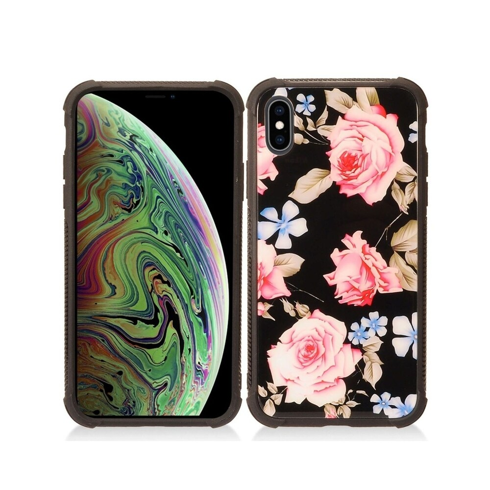 Insten Black/Pink Flower Hard Snap-on Dual Layer Hybrid Case Cover For Apple iPhone XS Max