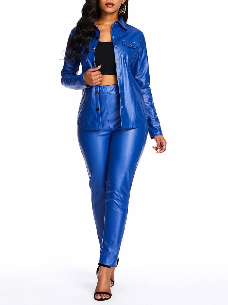 Ericdress PU Plain Fashion Lapel Blazer and Pencil Pants Formal Suit