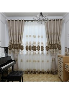Modern Simple Style European Embroidered Hand-made Sheer Curtain