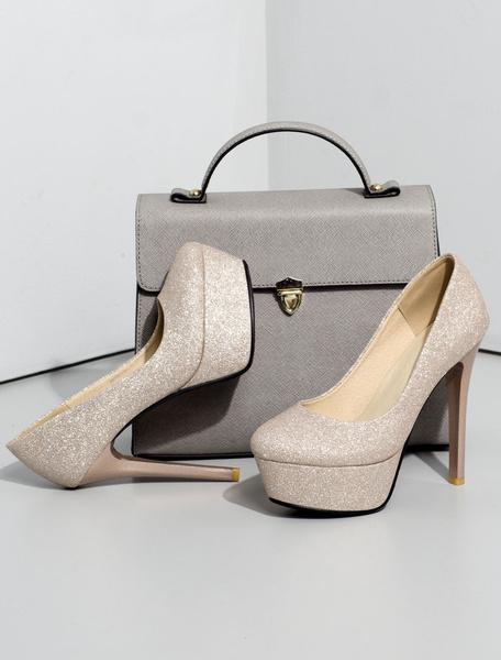 Milanoo Black Glitter Platform Party Shoes Women Round Toe High Heel Pumps