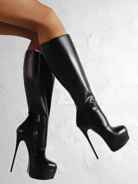 Milanoo Black Sexy Shoes High Heel Boots Platform Round Toe Sky High Mid Calf Boots