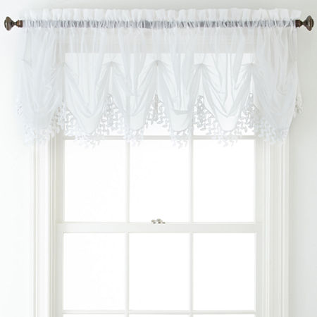 Home Expressions Lisette Sheer Macramé Tuck Valance, One Size , White