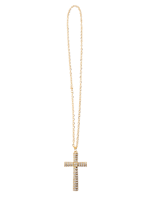Kostuemzubehor Halskette Kreuz mit Steinchen gold