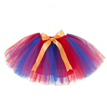 Toddler Girls Tie Front Colorblock Tulle Skirt