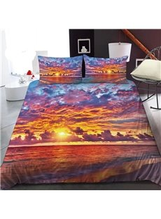 Beautiful Beach At Sunset 3D Printed Polyester 1-Piece Warm Quilt