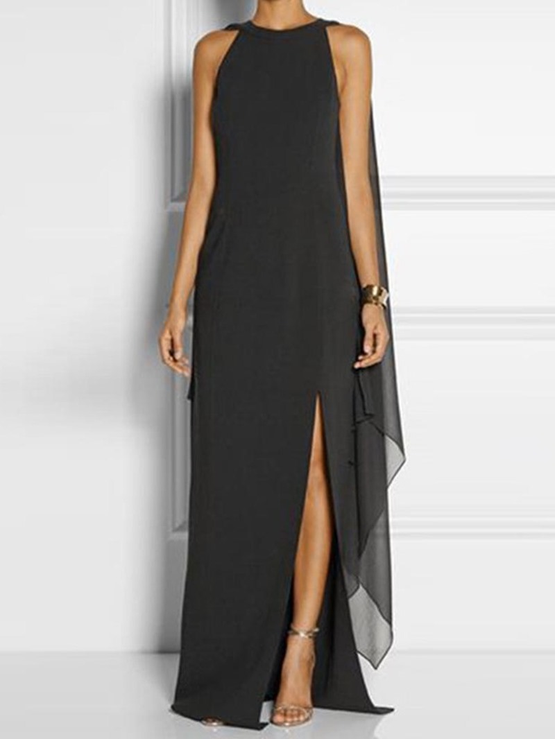 Ericdress Round Neck Split Floor-Length Asymmetric Chiffon Party Dress