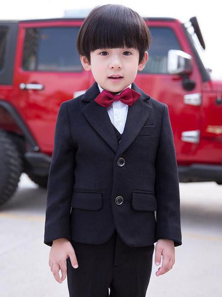 Milanoo Black Ring Bearer Outfit Wedding Tuxedo Boys Suits Kids Formal Wear 5 Piece