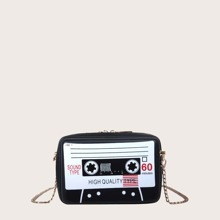Tape Design Crossbody Bag