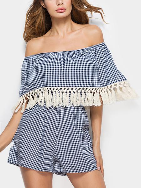 Yoins Off Shoulder Grid Pattern Tassel Embellished Playsuit