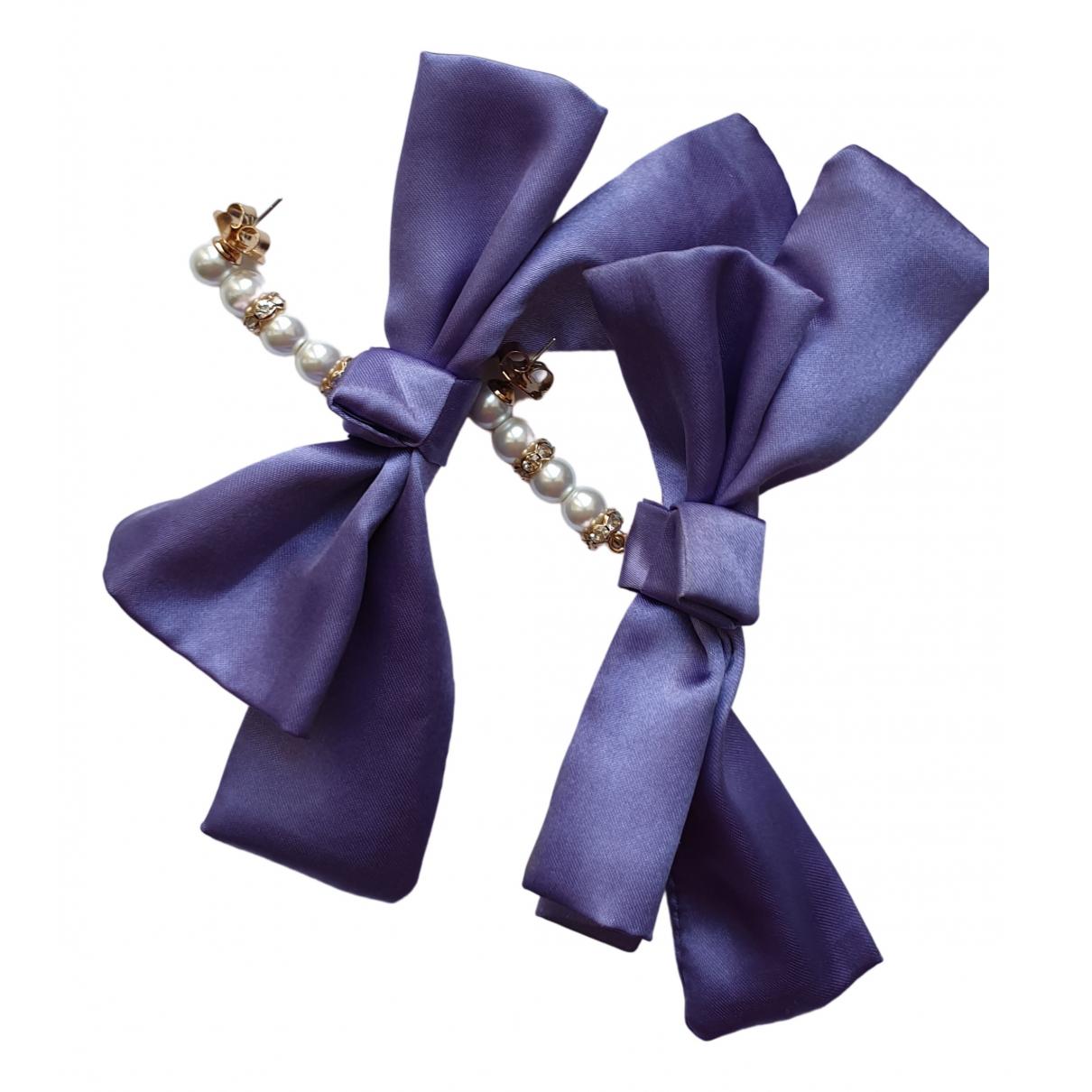 - Boucles doreilles Motifs Noeuds pour femme en toile - violet