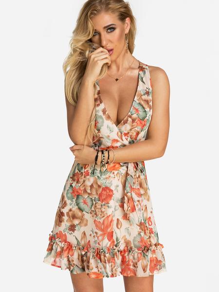 Yoins Random Floral Print Backless Design V-neck Sleeveless High-waisted Wrap Dress