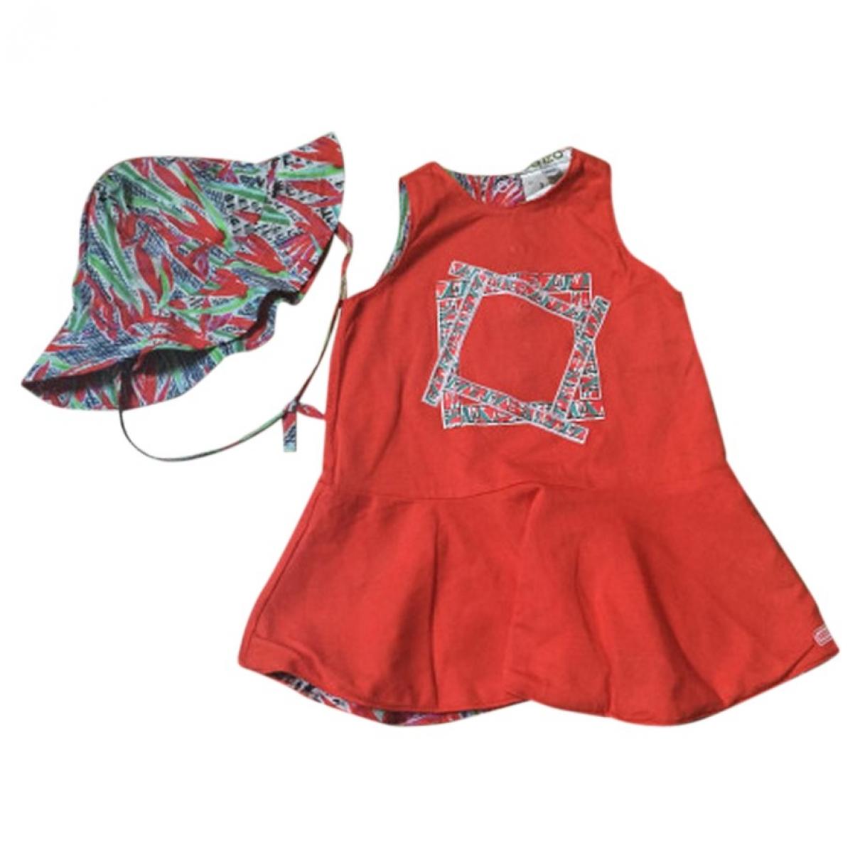 Kenzo - Robe    pour enfant en coton - orange