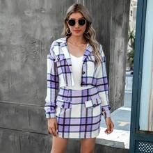 Flap Detail Plaid Tweed Jacket & Skirt Set