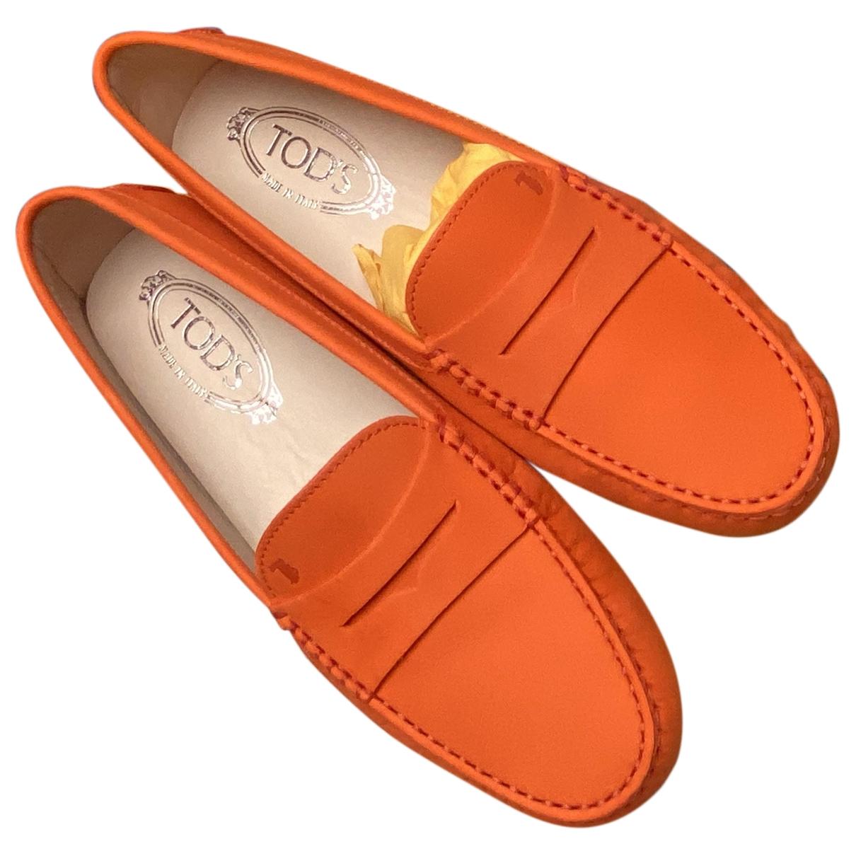 Tods - Mocassins Gommino pour femme en cuir - orange