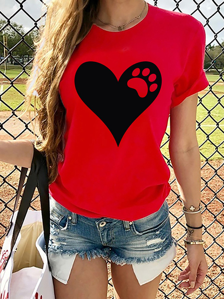 Yoins Casual Heart & Paw Print Crew Neck Short Sleeves Tee