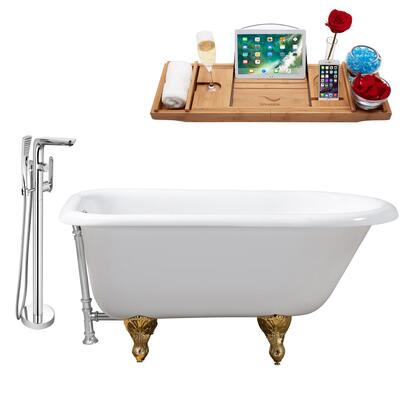RH5101GLD-CH-120 48 Oval Shaped Soaking Clawfoot Tub With 25 Gallons Capacity  Vintage Style  Enamel And Cast Iron Construction  And Floor Mounted