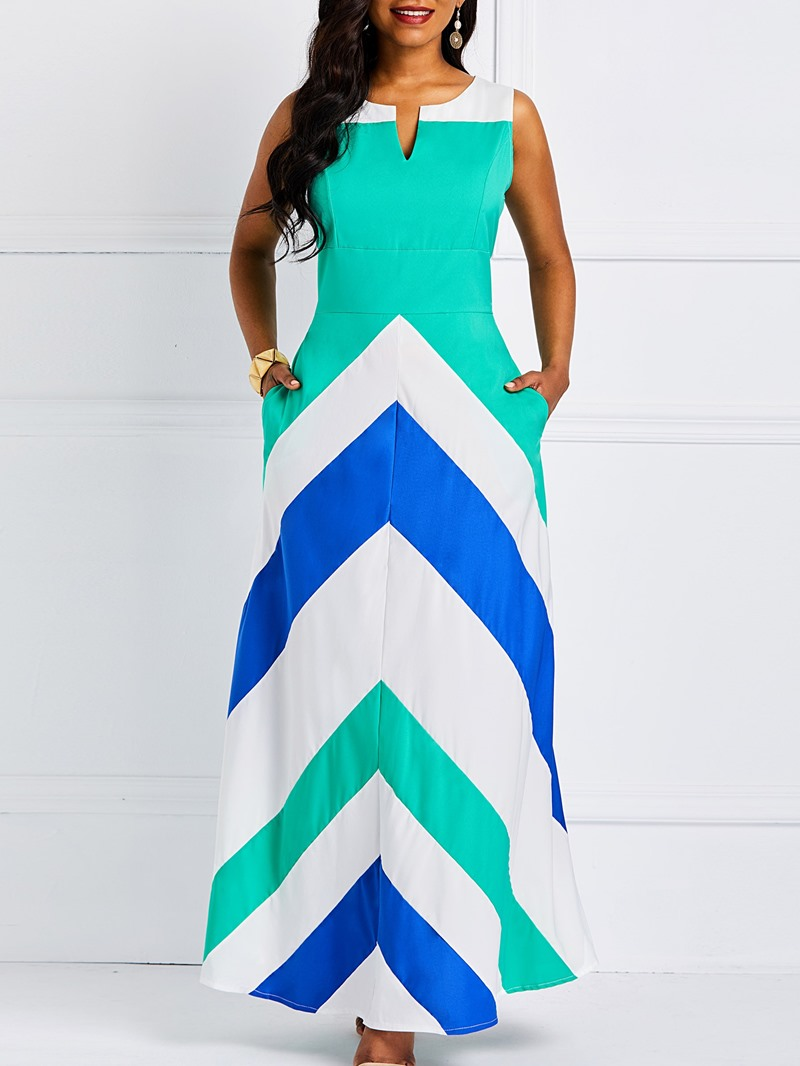Ericdress Floor-Length Sleeveless Color Block Pocket Dress