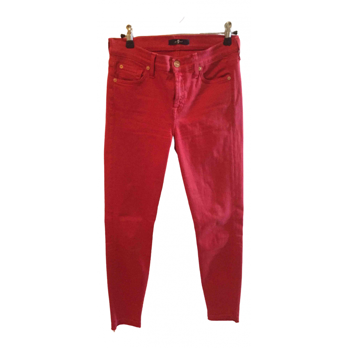 7 For All Mankind \N Red Cotton Trousers for Women 36 FR