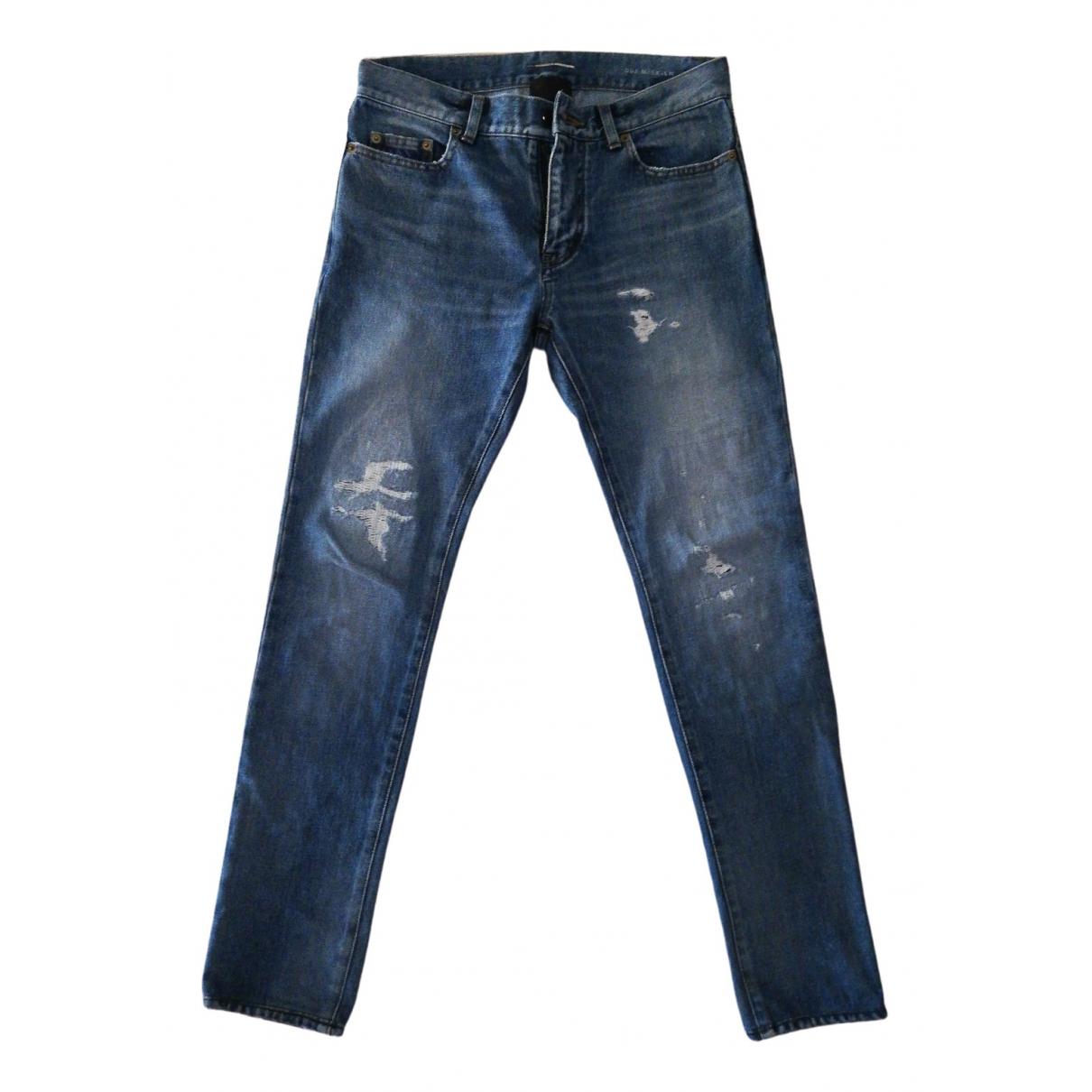 Saint Laurent \N Blue Cotton Jeans for Men 30 US