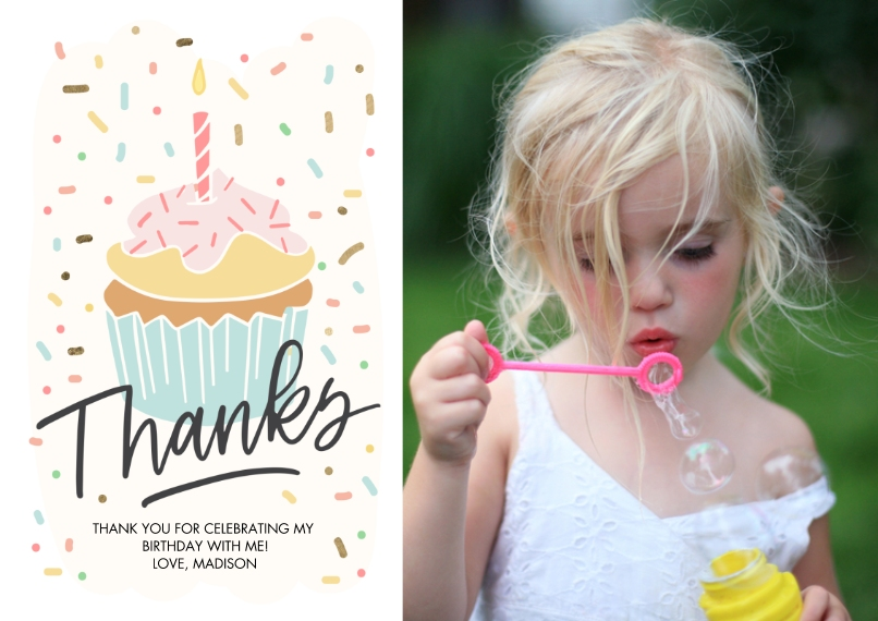 Thank You Cards Mail-for-Me Premium 5x7 Flat Card, Card & Stationery -Thank You Cupcake Sprinkles by Tumbalina