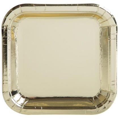 Paper Dessert Plate Square Foil Gold 7