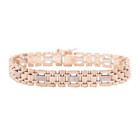 Mens 14K Two-Tone Gold Link Bracelet, One Size , Multiple Colors