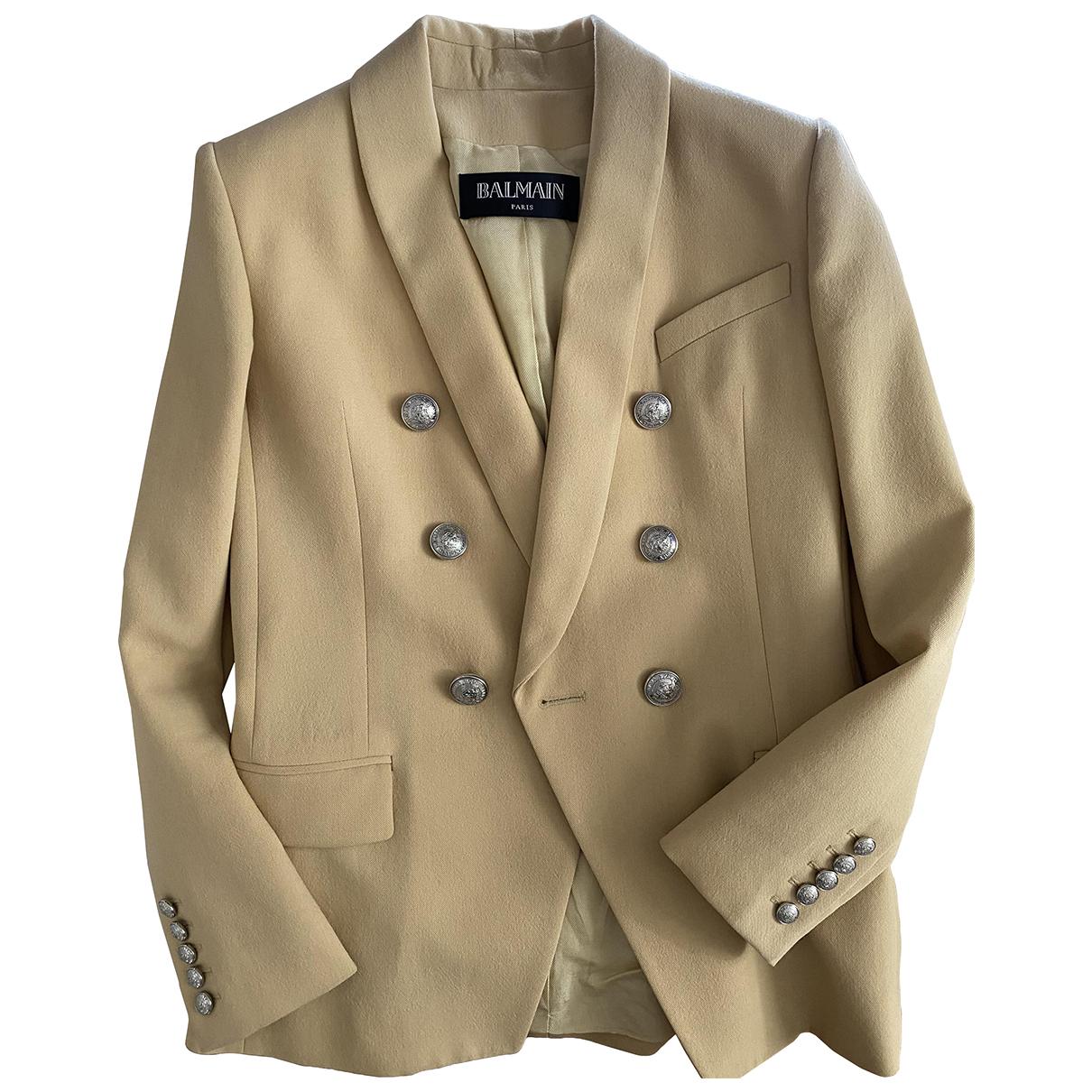 Balmain - Veste   pour femme en laine - beige