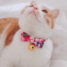 Bell Pendant Flower Print Cat Bow