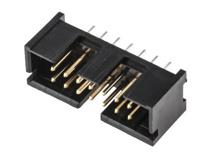 TE Connectivity AMP-LATCH Series, 2.54mm Pitch, 14 Way 2 Row Shrouded Straight PCB Header, Through Hole