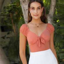 Shirred Back Knot Front Solid Top