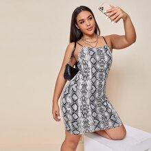 Cami Kleid mit tiefer Rueckseite und Schlangenleder Muster