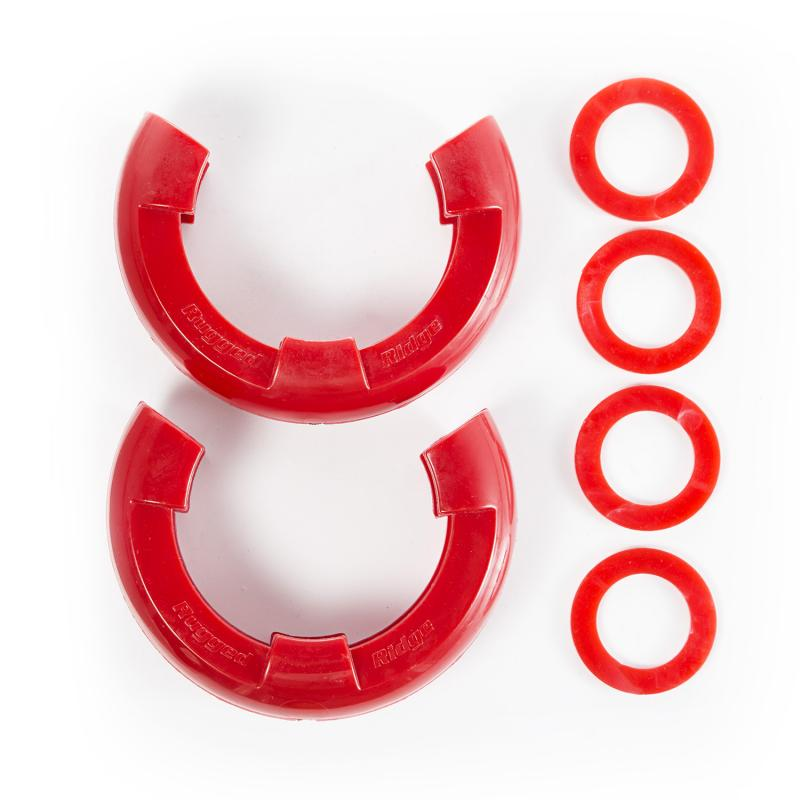 Rugged Ridge 11235.41 D-Ring Shackle Isolator Kit, Red Pair, 7/8 inch