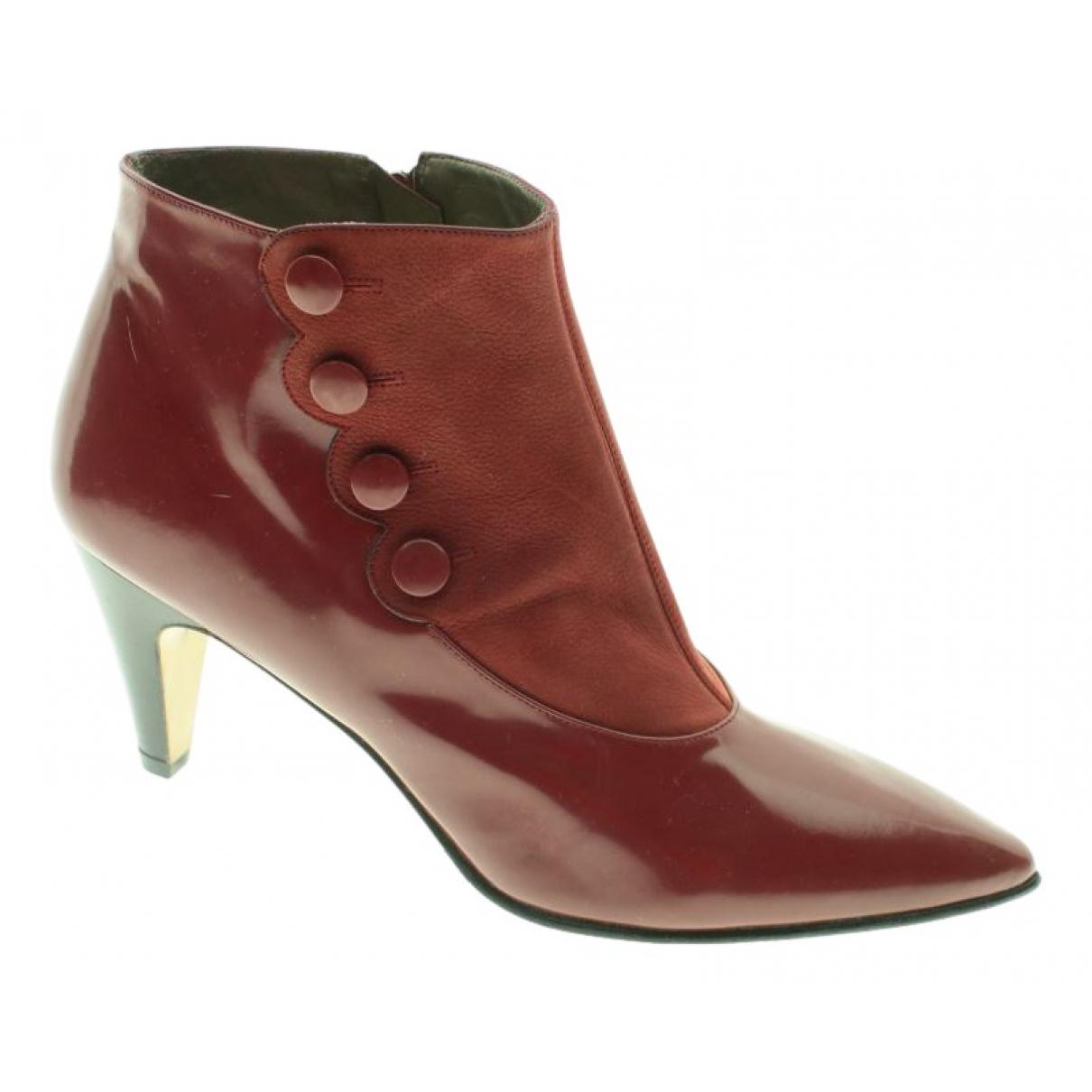 Guy Laroche \N Burgundy Fur Ankle boots for Women 41 EU