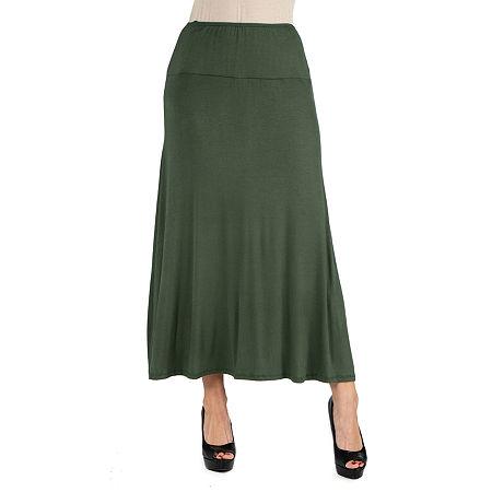 24/7 Comfort Apparel Elastic Waist Solid Maxi Skirt, Small , Green