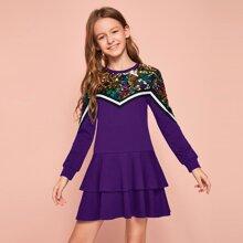 Girls Contrast Sequin Striped Tape Layered Ruffle Sweatshirt Dress